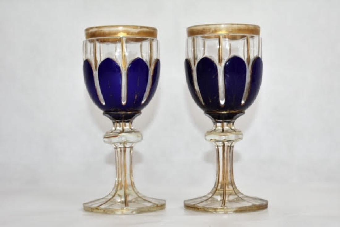 pair bohemian blue overlay glasses 14 cm