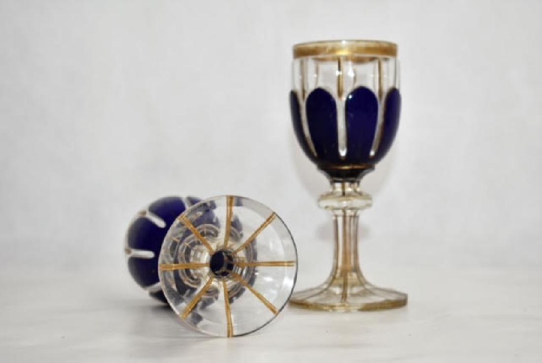 pair bohemian blue overlay glasses 14 cm - 3