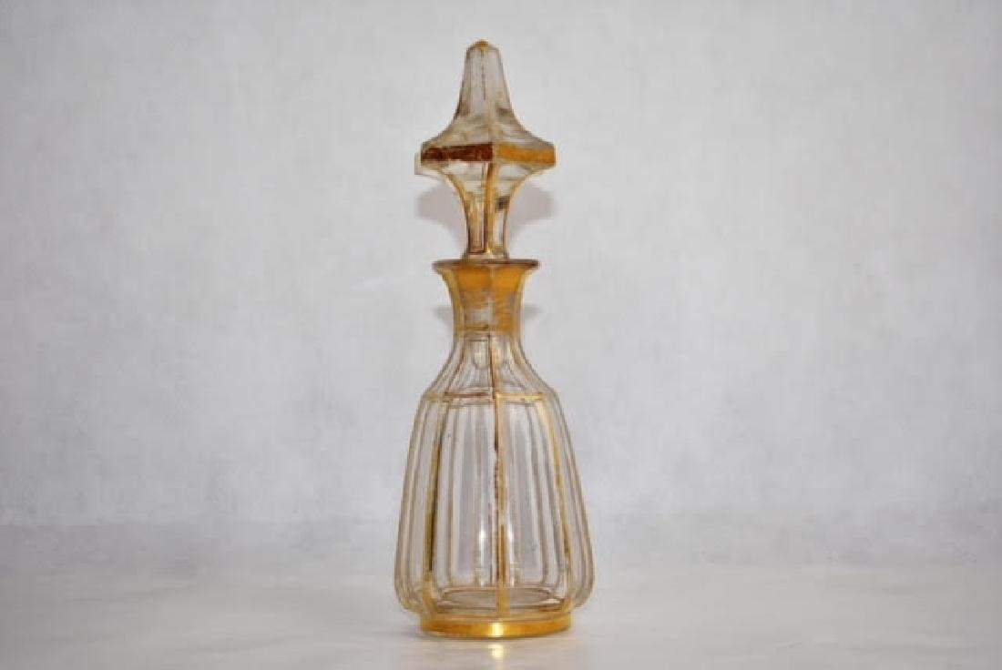 bohemian gold and clear bottle 21 cm.