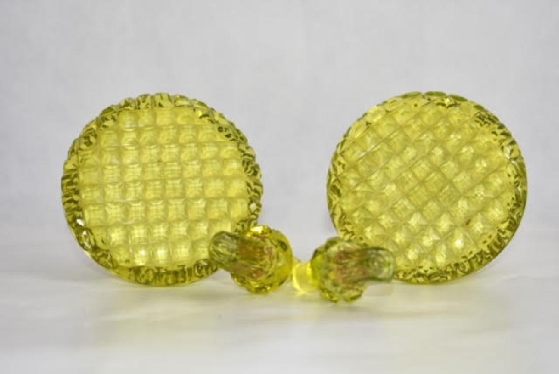 pair uranium bohemian bottles 14 cm - 3