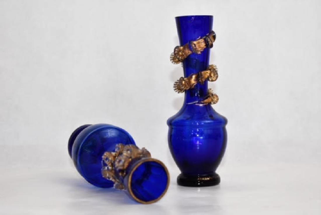 pair blue vases possibly Venetian 14 cm - 2