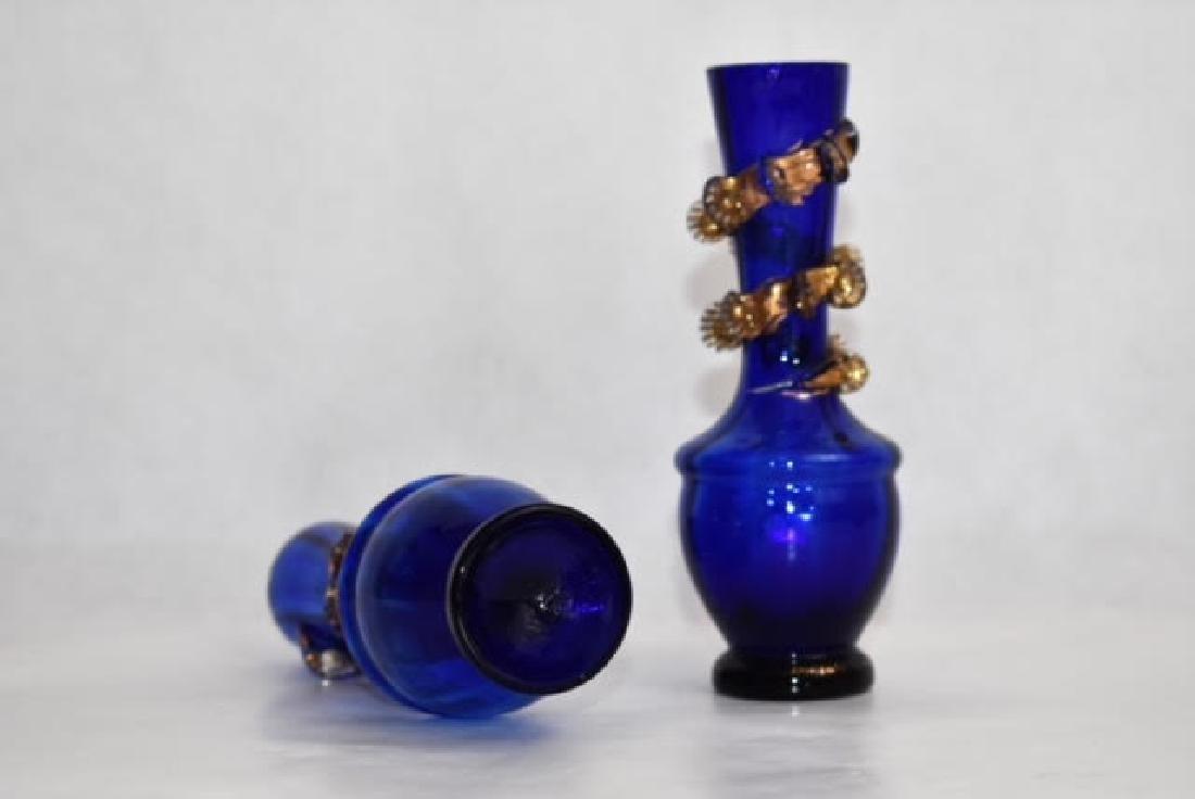 pair blue vases possibly Venetian 14 cm - 3