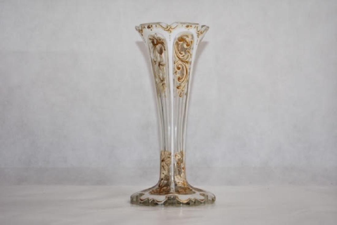 bohemian white overlay vase. 19 cm