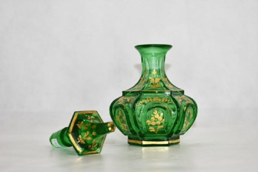 bohemian green gilded bottle 17 cm - 2