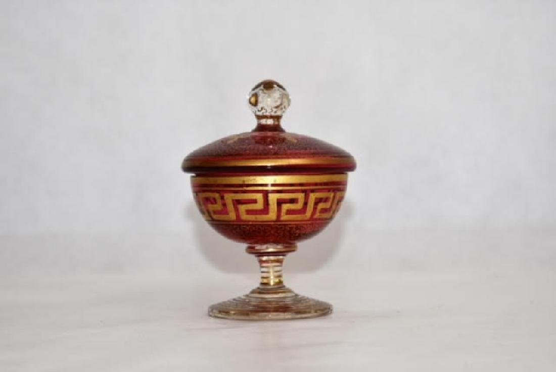 bohemian gilded cup and cover 10 cm