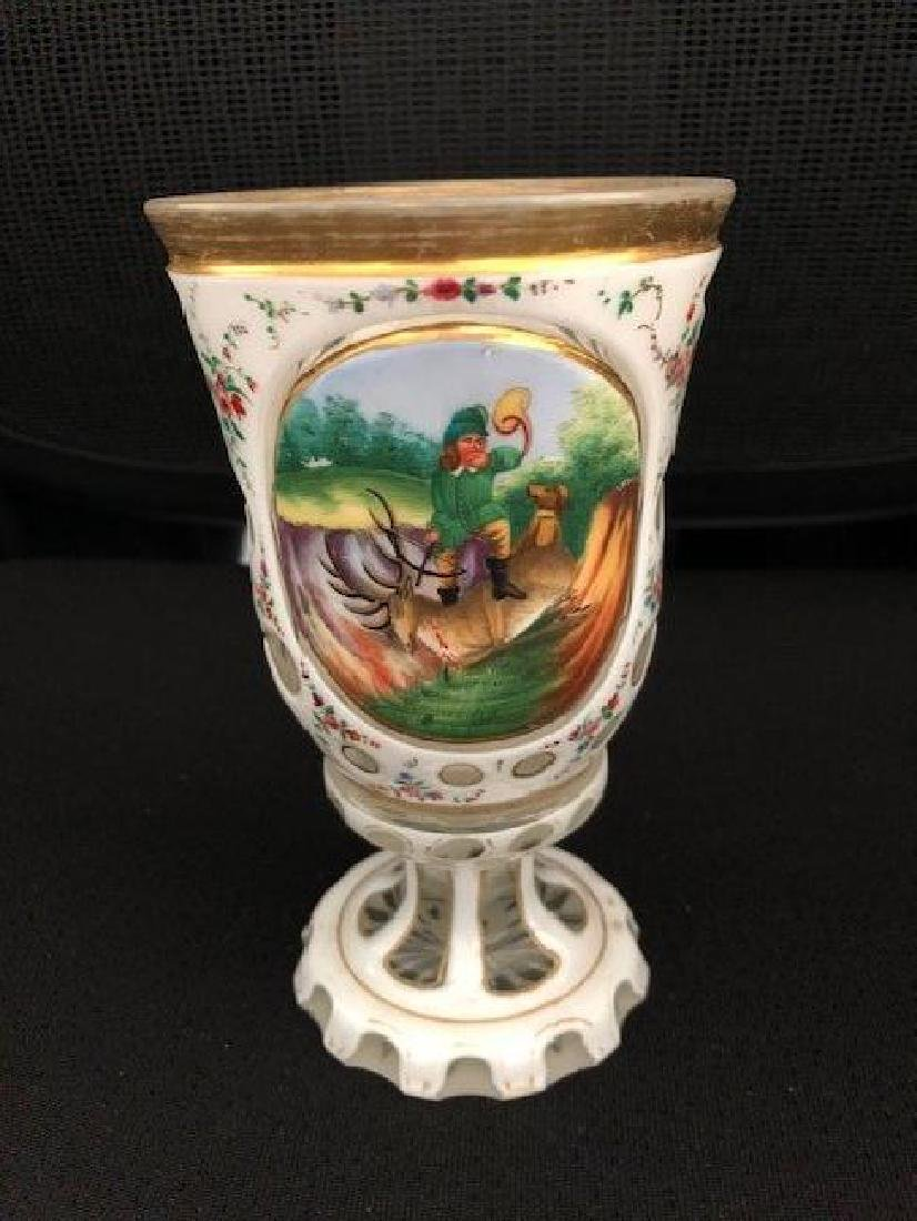 OVERLAY Bohemian Glass CUP WITH PORTRAIT