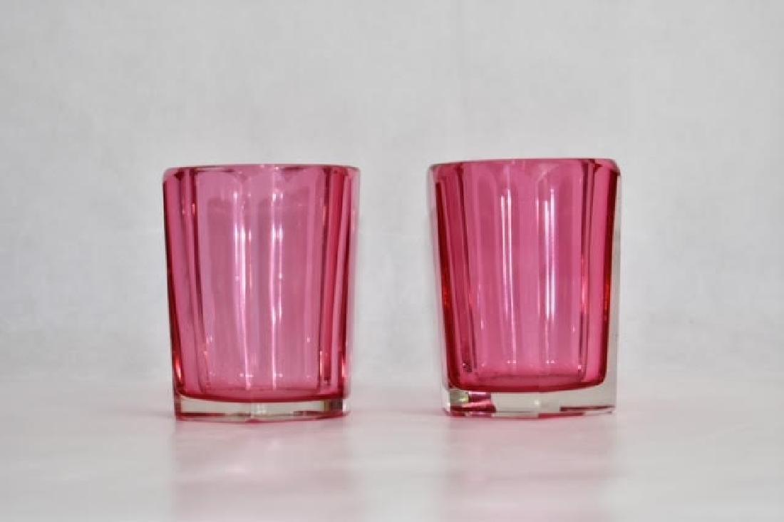 pair bohemian cranberry beakers 9 cm