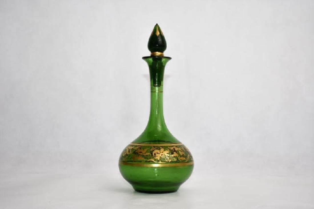 bohemian green bottle. Stopper matched 14 cm