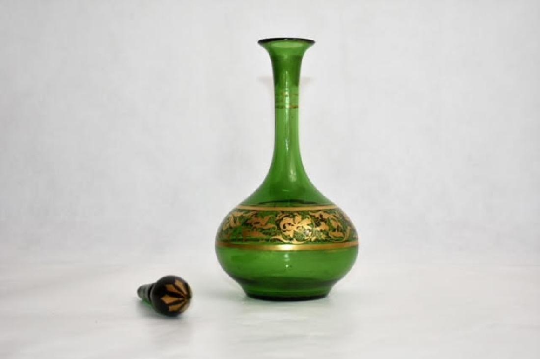 bohemian green bottle. Stopper matched 14 cm - 2