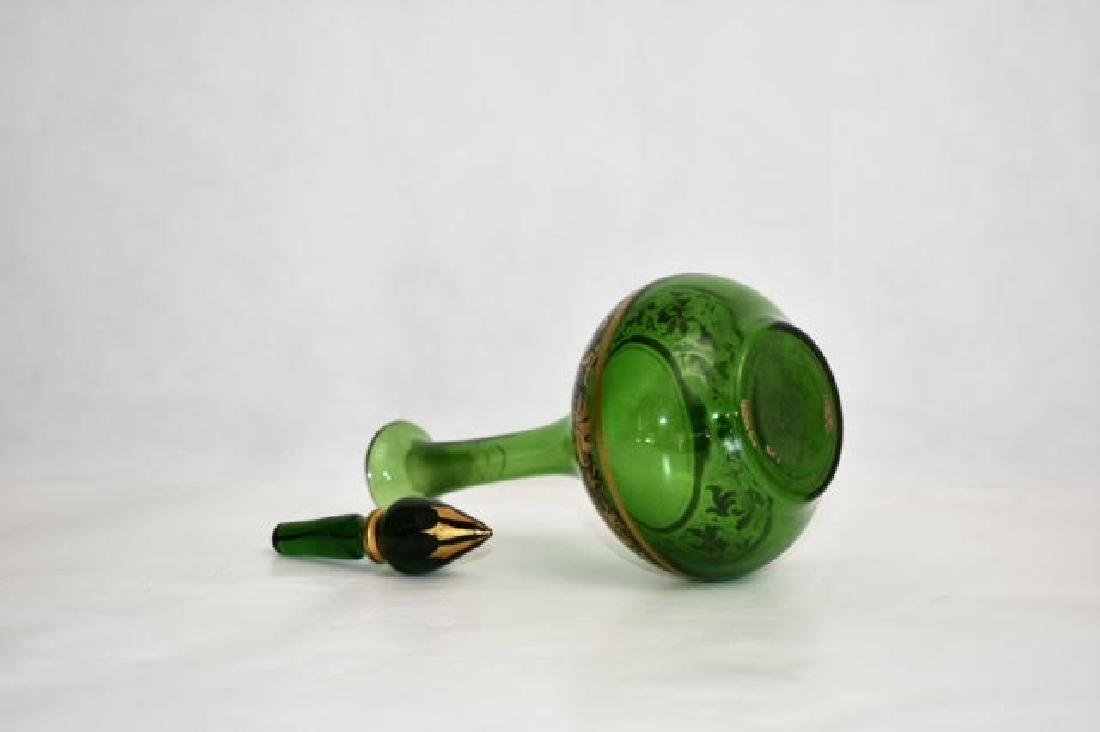 bohemian green bottle. Stopper matched 14 cm - 3