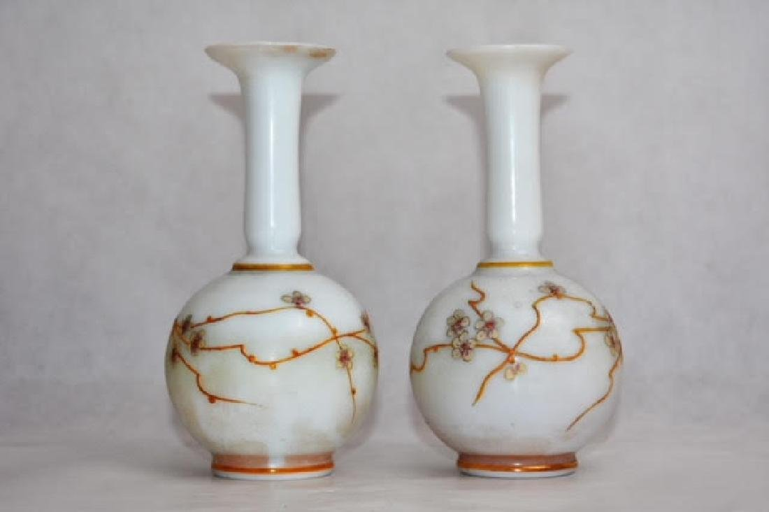 pair French opaline vases 16 cm
