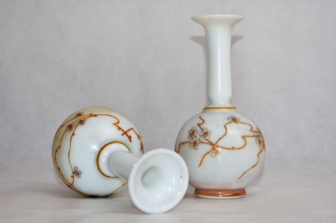 pair French opaline vases 16 cm - 2