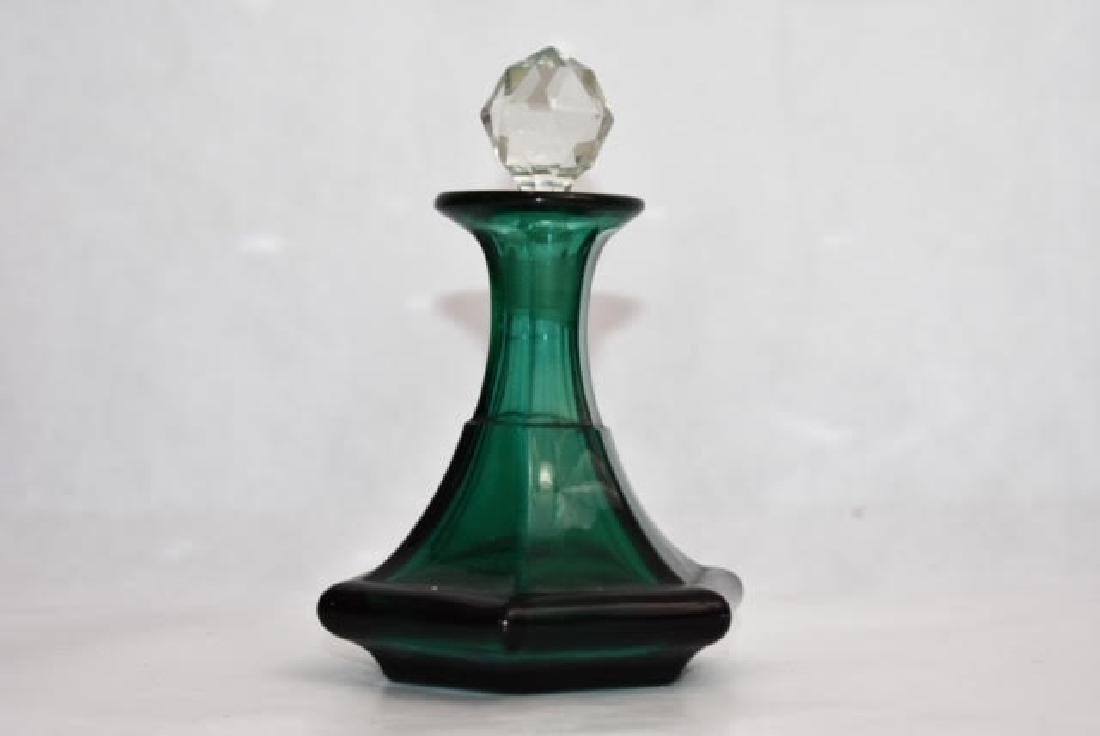 bohemian green bottle added stopper 14 cm