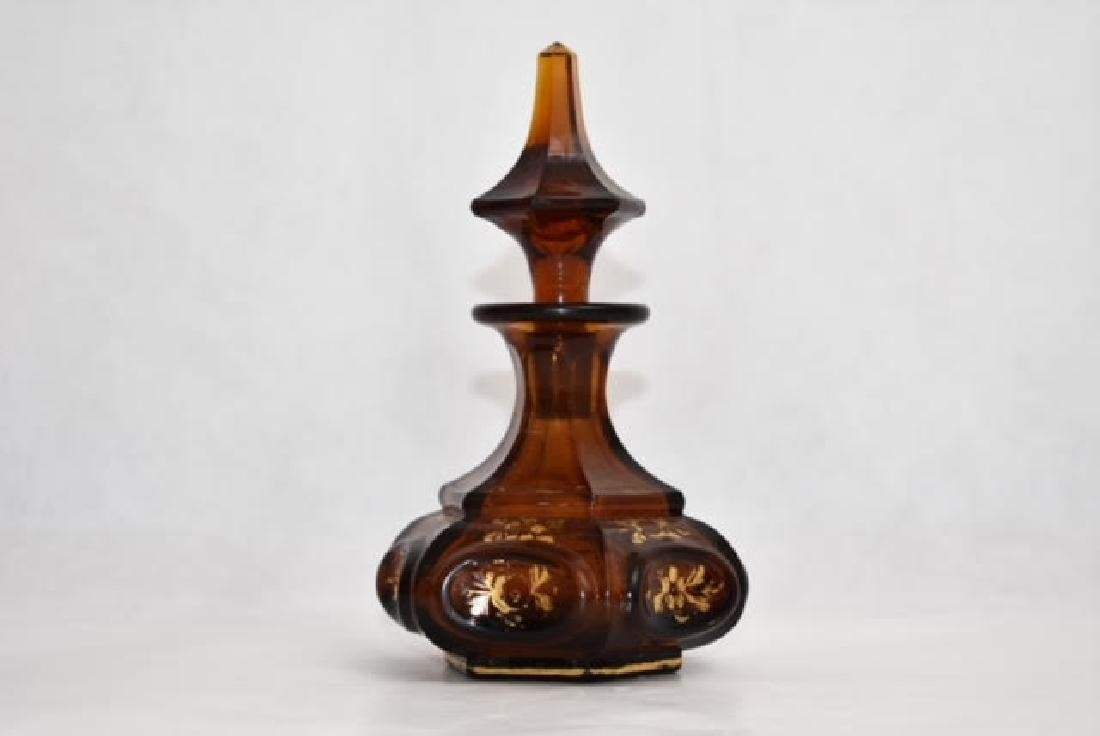 bohemian dark amber bottle 16 cm