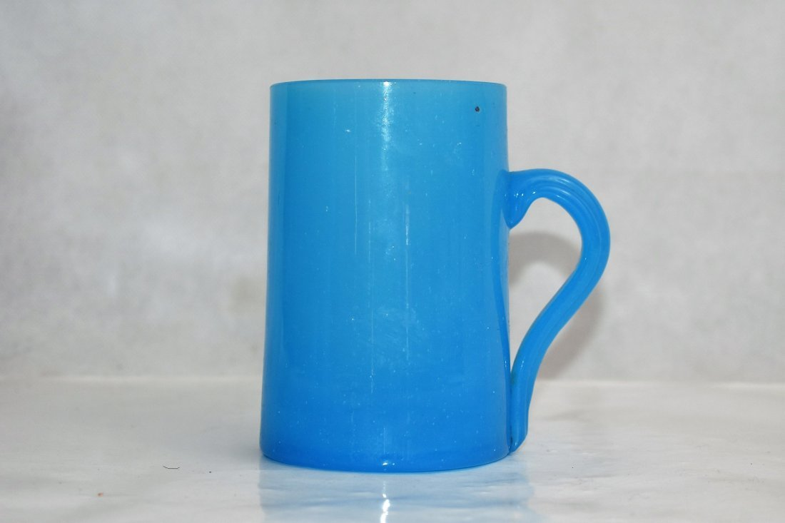 blue french opaline mug 11 cm