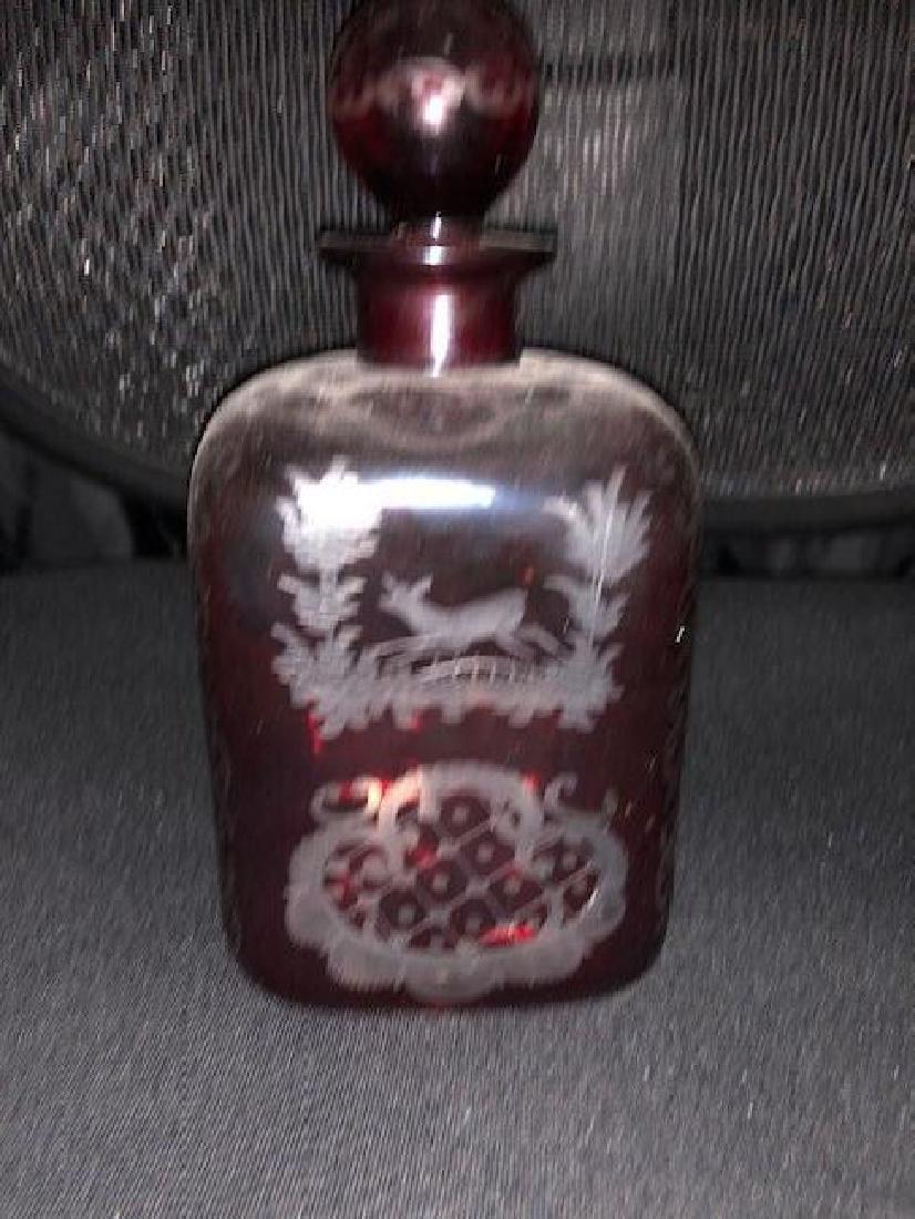 Bohemian Engraved Decanter Glass