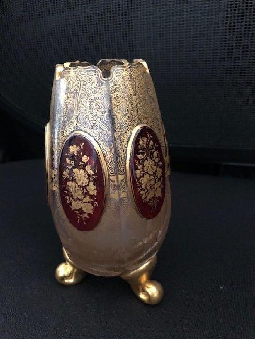 Bohemian Glass Vase with Gold gilding