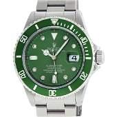 Rolex Mens Submariner 16610 Stainless Steel Green