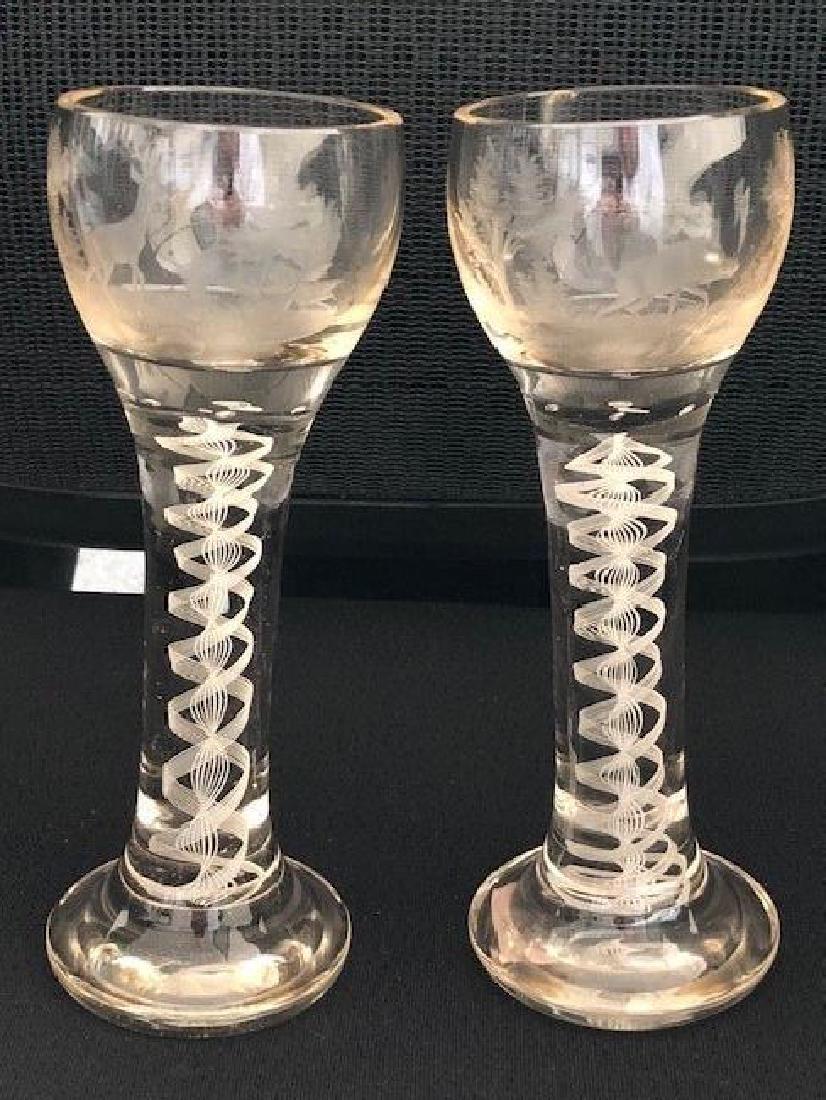 PAIR OF Bohemian Glass VASES ENGRAVED hunter goblets