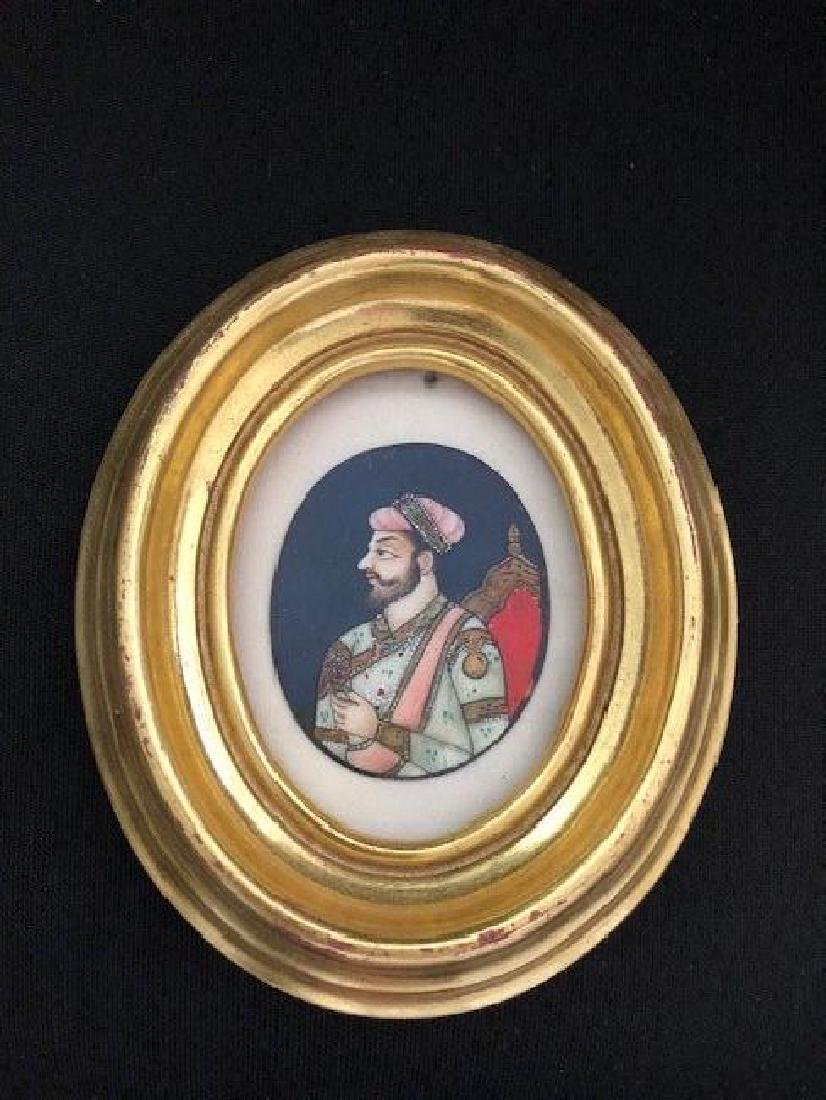 Mughal Indian  Portrait of a noble on Plaque
