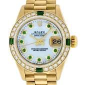 Rolex Ladies Datejust Watch 18K Yellow Gold MOP Emerald