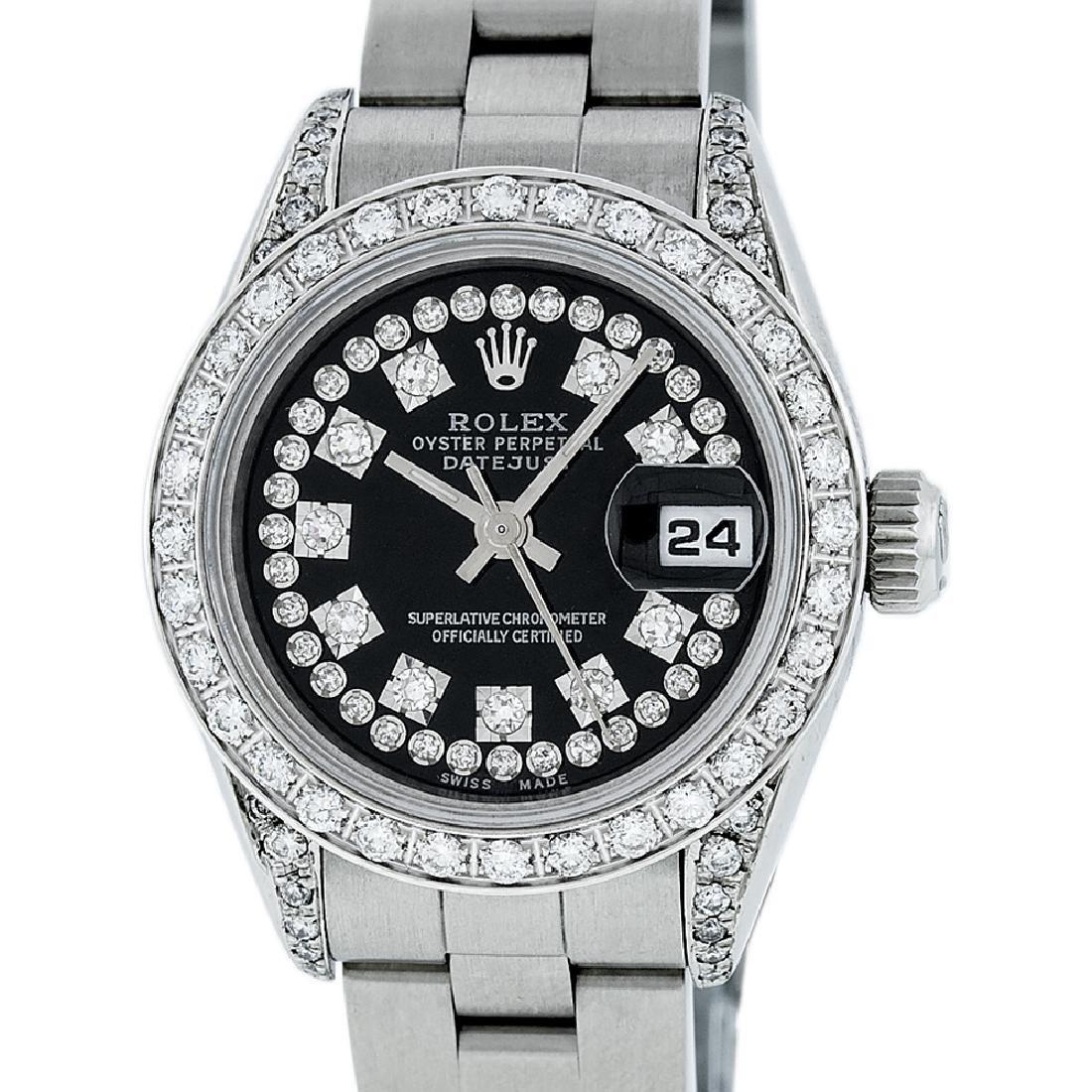 Rolex Ladies Datejust Watch SS & 18K White Gold Black