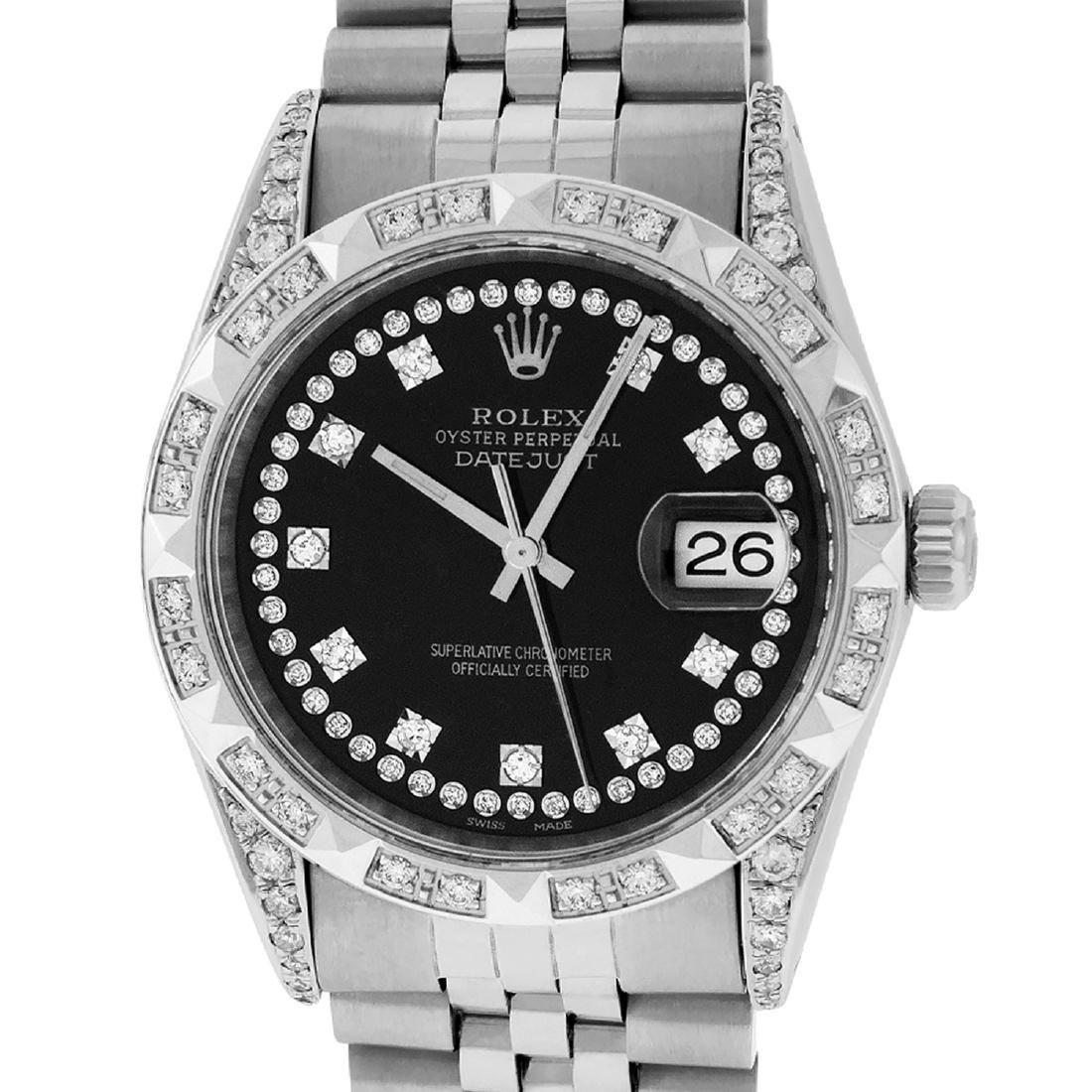 Rolex Mens Datejust Watch SS & 18K White Gold Black