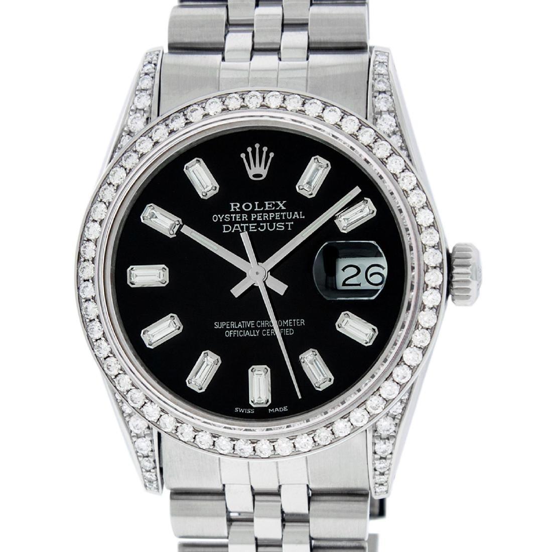 Rolex Mens Datejust Watch SS Black Baguette Diamond