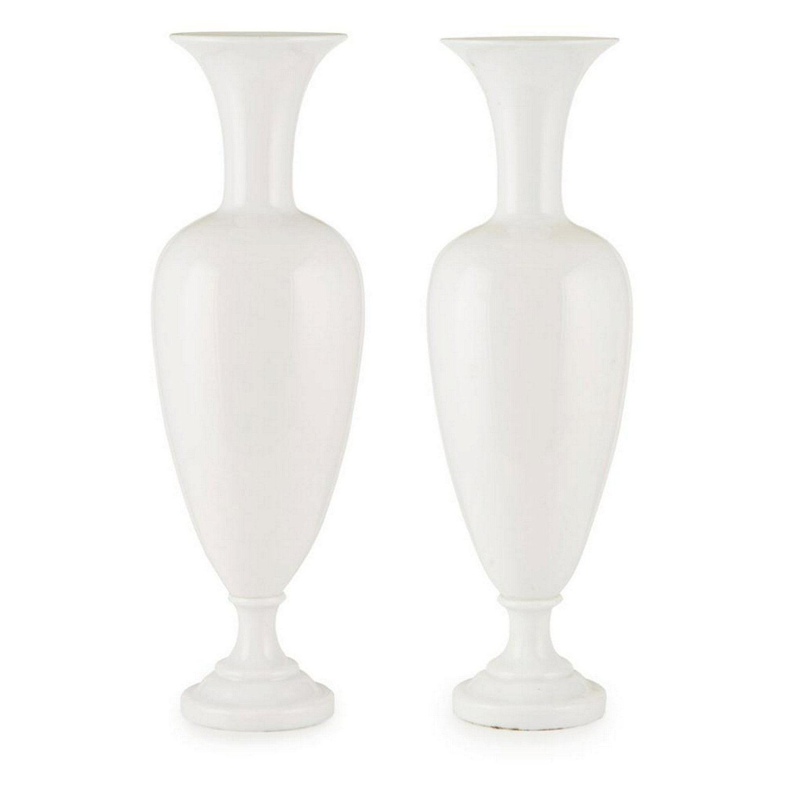 PAIR OF LARGE FRENCH OPALINE GLASS VASES, ATTRIBUTED TO
