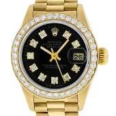Rolex Ladies Datejust Watch 18K Yellow Gold Black