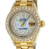Rolex Ladies Datejust Watch 18K Yellow Gold MOP String