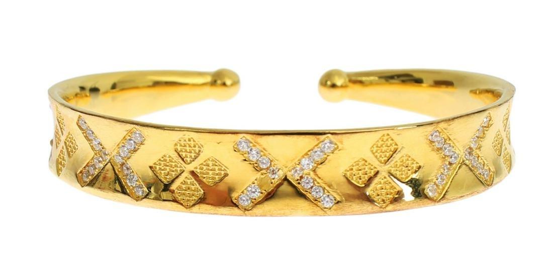 NIALAYA CZ GOLD STERLING 925 SILVER BANGLE BRACELET