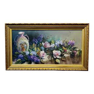 Traditional Still Life of Roses With a Porcelain Vase