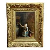 Mid 19th Century Antique Jacobus Burgers Dutch Girl