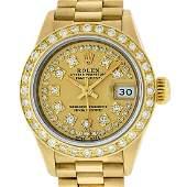 Rolex Ladies Datejust Watch 18K Yellow Gold Champagne