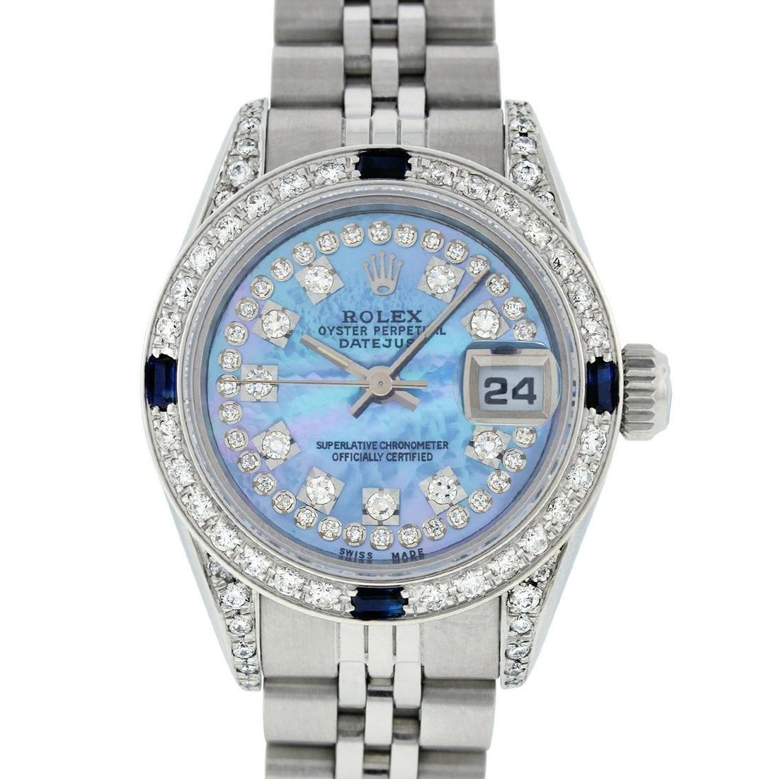 Rolex Ladies Datejust Watch SS & 18K White Gold Blue