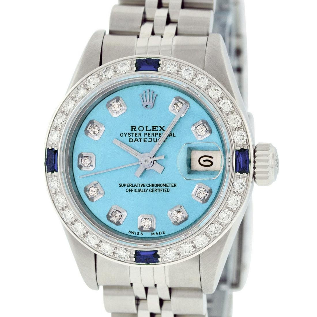 Rolex Ladies Datejust Watch SS & 18K White Gold Sky