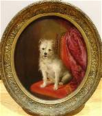 19th Century French School Portrait Of A White Terrier