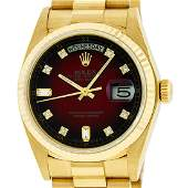 Rolex Mens Day-Date President Watch 18K Yellow Gold Red