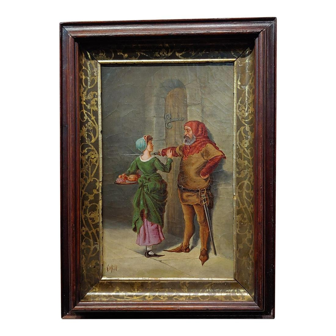 18th Century Oil Painting, Renaissance Mistress Stopped