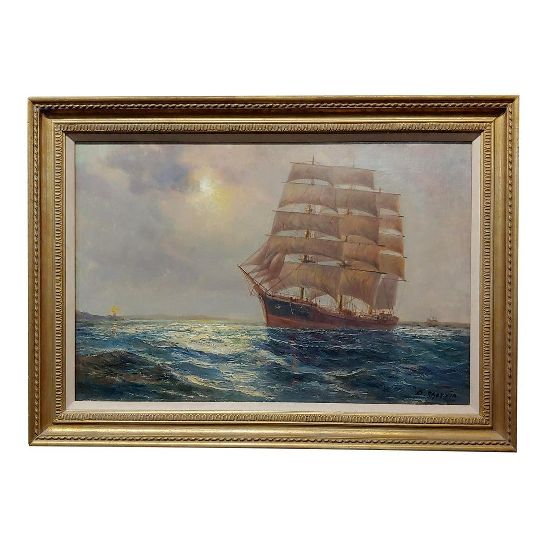 19th Century Oil Painting of Clipper Ship Seascape by