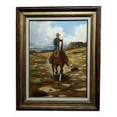 """1960s Vintage """"Cowboy on Horseback in a Desert"""