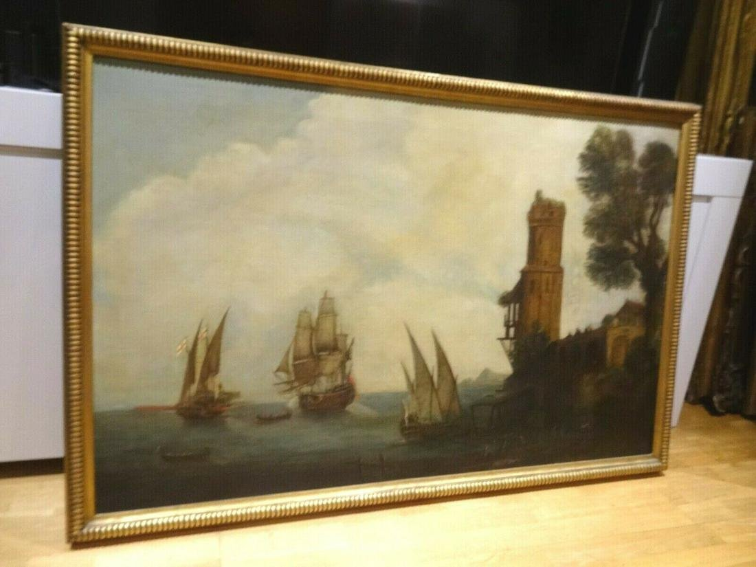 Large 18th Century British Royal Navy Ships Off The