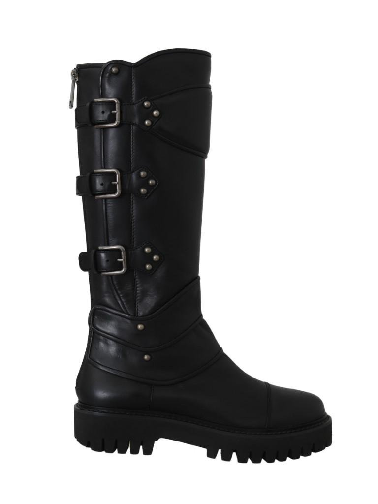 DOLCE & GABBANA BLACK LEATHER KNEE BIKER BOOTS