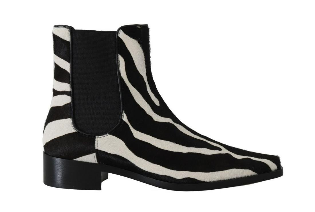 DOLCE & GABBANA BLACK WHITE PONY HAIR CHELSEA BOOT