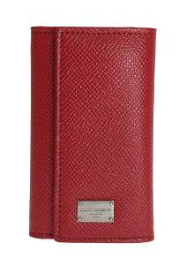 DOLCE GABBANA RED LEATHER KEY CASE WALLET