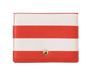 DOLCE GABBANA RED WHITE STRIPED LEATHER CARDHOLDER