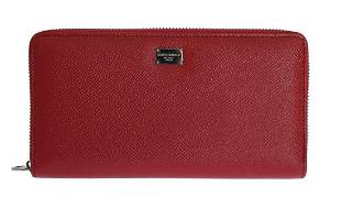 DOLCE GABBANA RED LEATHER DAUPHINE CONTINENTAL WALLET