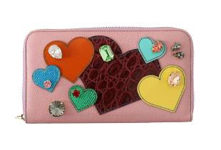 DOLCE GABBANA PINK LEATHER HEART CRYSTAL CONTINENTAL