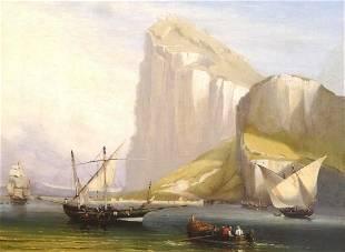 Fine Large 19th Century Rock Of Gibraltar Ships Sailing